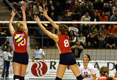4342_RVaradi (Robi33) Tags: game girl sport ball switzerland championship team women action basel tournament match network volleyball block volley referees viewers