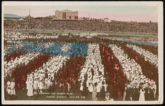 Forming the human flag. School Sports August 26 1908. Visit of American Fleet (Great White Fleet) to Sydney. Public Schools Display Sydney Cricket Ground (State Records NSW) Tags: school blackandwhite childhood children education archives newsouthwales staterecordsnsw