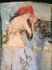 Summer, in progress (Jenny and Evie) Tags: canvas needlepoint stitching mucha petitpoint