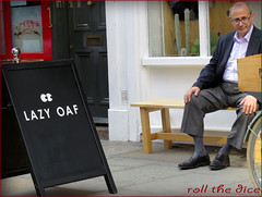 `1185 (roll the dice) Tags: uk portrait urban man london art classic westminster shopping bench lunch glasses eyes funny natural streetphotography stranger collection tired laugh unknown carnaby rest wisdom mad wit fella w1 westend unaware londonist
