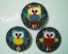 Porta recados Corujinha (Frescuriti) Tags: cd felt owl feltro portarecados corujinha