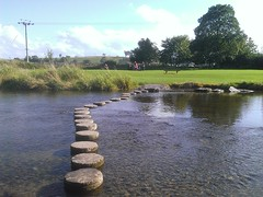 Another August, evening picnic by the river in Gargrave (Cricket Bat86) Tags: river picnic crossing yorkshire steppingstones northyorkshire thisisengland gargrave