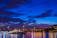 Blue Night (mikemikecat) Tags: bridge sunset landscape hongkong evening scenery sony 晚霞 夜空 綺麗 a7r 夕暮 sel2470z tingkaubirdge