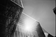 (theknark) Tags: blackandwhite sunlight architecture lomography quebec availablelight montreal grain 35mmfilm lensflare analogue selfdeveloped kodaktmax100 fujiklasse canoscan9000f