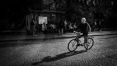 Biker (Zwitt Erion) Tags: street paris blackwhite cyclist rue velo cycliste noirblanc 19éme