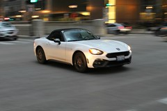 Along Came A Spider (Flint Foto Factory) Tags: chicago illinois urban city winter february 2017 downtown loop friday monroe wacker intersection 2016 fiat 124 spider roadster convertible white moving motion inmotion imported italian sports car manufactured japan mazda mx5 miata platform drop soft top worldcars