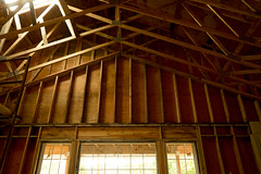Rafters (NateJPhotography) Tags: rafters construction new birth contrast light dark story newness age fir beams walls