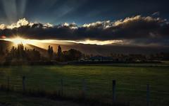 The Light Moment (Kevin_Jeffries) Tags: light sunburst rays sunrays hills trees nikon d7100 nikkor cloud rural sunstar field waimate newzealand sunset kevinjeffries evening weather digital spectacular wow