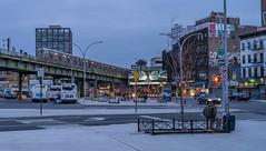 Last Stop Brooklyn (Jeffrey Friedkin) Tags: jeffreyfriedkinphotography buildings brooklyn bus city cityscene evening newyork newyorkphoto newyorker street streetscene williamsburg nyc train subway