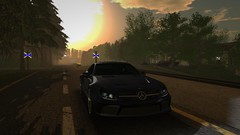 Somewhere In Norway (alexandriabrangwin) Tags: alexandriabrangwin secondlife 3d cgi computer graphics virtual world photography norway norwegian sim road highway driving mercedesbenz sl65 amg v12 twin turbo biturbo car sports sunrise forest clouds lens flare