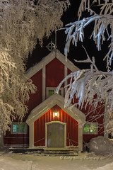 Church in the frozen forest (pixellesley) Tags: church building red sweden trees frost snow ice subzero windows leaded lights illuminated winter lesleygooding hoarfrost