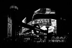 Last Days In London by Simon & His Camera (Simon & His Camera) Tags: blackandwhite underground tube street piccadilly london city urban night dark building bw black contrast iconic light lights monochrome neon outdoor bus people simonandhiscamera sign