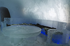 Icebar in Snow hotel (RedPlanetClaire) Tags: arctic snow hotel finland circle ice sinettä lapland winter icebar bar blue