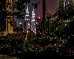 twin towers (Ahmed N Yaghi) Tags: twin towers malaysia kuala lumpur night lights klcc city petronas gardens street ماليزيا أبراج التوأم الليل أنوار مدينة
