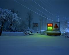 (Patrick J. McCormack) Tags: mamiya film rangefinder snow winter suburbs citgo analog night glow 6x7 kodak portra