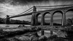 No bridge is to far ... (Einir Wyn Leigh) Tags: bridge anglesey wales uk blackandwhite monochrome clouds moody white reflection trip love island cymru outdoor estuary water dark architecture telford