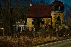 The Church House (SCOTTS WORLD) Tags: adventure architecture america angle bluesky brick building green god windows woods weathered worship weeds window digital door trees house shadow sky sunlight panasonic pov perspective michigan midwest light leaves landscape lapeer millville vintage garage ivy stairs steps religion rural country restored lamppost