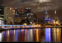 Skyline seen from King Street Bridge @ Night, Melbourne, Australia (JH_1982) Tags: street city travel bridge light urban reflection building travelling skyline night skyscraper canon reflections river dark way eos lights evening noche king cityscape darkness skyscrapers nacht australia melbourne victoria illuminated kings highrise yarra vic australien traveling tamron nuit notte highrises australie 18mm        270mm   60d