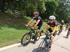 Tom riding behind George!