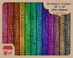 12 Digital Glitter Texture Paper Backgrounds - Printable Graphic Illustration - Rainbow Multi Colored - 12x12 inches - Commercial Use OK (inayyadigital) Tags: birthday christmas pink blue red party orange brown holiday black color green art texture yellow set glitter illustration digital scrapbooking paper fun gold grey golden design kid rainbow beige colorful shine graphic bright turquoise background web rich banner gray violet indigo newyear sparkle pack lilac fabric invitation card commercial trendy clipart colored kit jpg scrap sheen gala emerald luxury glisten spangle digitalscrapbooking printable digitalfabric glister digitalpaper digitalscrap digitalbackground digitalpaperpack digitalglittertexture digitalglitterbackground digitalglitterfabric scrapbookingpaperpack
