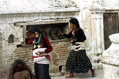 21-094 (ndpa / s. lundeen, archivist) Tags: nepal people woman color film 35mm clothing women 21 stupa buddhist nick skirt clothes prayerwheel barefoot kathmandu nepalese 1970s 1972 katmandu boudhanath himalayas nepali prayerwheels boudha dewolf bouddhanath nickdewolf buddhiststupa boudhanathstupa photographbynickdewolf baudhanath bauddha khāsti reel21 jyarungkhasyor hillyregion
