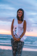 Bachelorette Lynn (Dennis Bevers) Tags: girls portrait woman beach smiling veil belgium bachelorette lynn be tanktop ribbon brunette oostende bacheloretteparty flanders