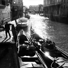 Trai a llanw, sn y dr yn llarpio'r hen gorff, damaid wrth damaid.  Ebb and flow, the lapping waters nibble away the old city.   #Venezia #Fenis #Venice (FfotoMarc) Tags: venice bw square squareformat inkwell venezia duagwyn fenis iphoneography instagramapp