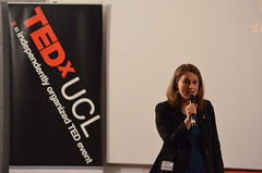 Sofie Sandell speaking at TEDxUCL