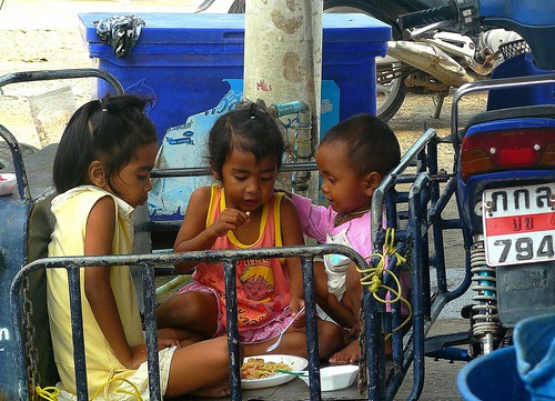 Eating on the street.