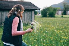 Daisy Chains (hannahmcho) Tags: flowers green film girl smile germany happy bavaria chains wind daisy fields breeze dandelions