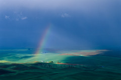 Palouse Rainbow (Ryan McGinty) Tags: statepark sunset green film landscape washington spring rainbow scenic wheatfields velvia50 contaxg2 g90 steptoebutte ryanmcginty