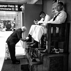 Hipstamatic 147 (Richard Pilon) Tags: street people urban blackandwhite bw chicago blackwhite candid streetphotography shoeshine blackandwhitephotography iphone iphoneography hipstamatic