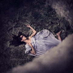 You Lose Some (leighbishopphotography) Tags: portrait woman color colour fall girl beauty dark photography death model nikon surrealism fineart fallen squareformat conceptual d7100 leighbishop