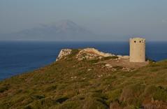 Drakano fortress facing Samos(2) (kutruvis nick) Tags: sea tower history water island greek ancient nikon hill ikaria hellas greece historical nik fortress samos aegeansea drakano d5100 kutruvis