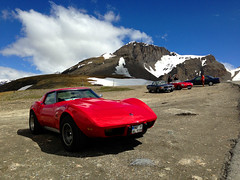 Stingray Corvette At The Top Of The Iseran Pass (Marc Sayce) Tags: road france de mercedes benz stingray near top pass sl val jaguar 500 corvette col disere xke etype the iseran at of liseran d902 worldcars