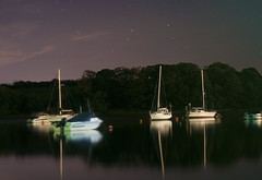 (leighbeta) Tags: longexposure reflection water wales night stars boats 50mm harbour f18 pembrokeshire 550d stdogmaels