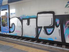 DSCN8675 (en-ri) Tags: train writing out torino graffiti grigio rosa crew azzurro nero speckaz