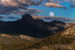Full Moonrise over Yosemite's Back Country (Darvin Atkeson) Tags: california sunset usa moon forest fire nationalpark rocks full moonrise yosemite granite peaks wildfire darvin atkeson darv lynneal meadowfire yosemitelandscapescom