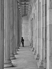 Between the Pillars (tim.perdue) Tags: street boy ohio bw white black art monochrome stone museum architecture person child walk candid toledo utata figure classical column pillars thursday between utata:project=tw440