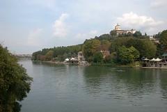 The Monte dei Cappuccini watches over the River Po (Elizabeth Buie) Tags: city italy torino italia turin poriver fiumepo