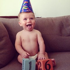 HAP BIR JAC! Today, our son Jackson turns 6 months old. He's sitting up, starting on solids, getting frighteningly strong, and constantly sticking his tongue out. We're pleased the pterodactyl scream obsession has ended, but we have seen the future of poo