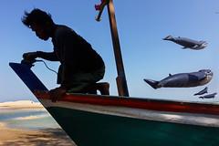 Flying Whales  #01 (Tavepong Pratoomwong) Tags: streetphoto thailand whale flying fisherman tavepong blue sky shadow sea bcean kite festival phetchaburi sand
