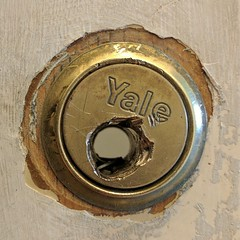 One of those mornings (phatcontroller) Tags: yale lock drilled hole damaged