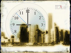 Grunge skyline with clock face (shadowbilgisayar) Tags: old buildings modern tower view business yellow horizon skyline scraper clockface illustration offices metropolis tall time texture architecture postcard paper vintage background build cityscape metropolitan downtown street town funky aged new urban graphic timemachine district roof retro industrial high city blue sky scene grunge water silhouettes clock landscape italy