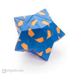 60° Origami Modular (Maria Sinayskaya) Tags: 10010 15cmdoublesided 3dorigamistar bronzerectangle daiyoshiko folded kamipaperduocolorcolor kusudama mariasinayskaya modularorigami origami origamipolyhedron origamispikes origamistar rectangle1sqrt3 мариясинайская