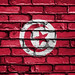 National Flag of Tunisia on a Brick Wall