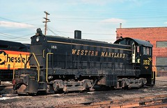 Western Maryland 152 (Trains & Trails) Tags: ds24 alco s6 black speedlettering wm 152 westernmaryland bo cumberlandshops alleganycounty history old vintage classic train railroad engine locomotive diesel transporation railway