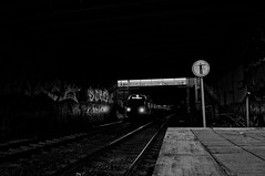 ([gegendasgrau]) Tags: graffiti graff vandalism urban city signs trainline black white bw blackwhite schwarz weiss station bahnhof bahnhsteig eisenbahn railway train zug sbahn et422 emu commuter wall mural concrete beton schild lights light licht nachtleben nachtlicht night nacht nightlight nightshot nightlife architecture architektur infrastruktur infrastructure brücke bridge dortmund 2017 atmo atmosphere ambiance mood feeling urbannature