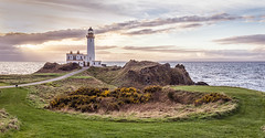 Turnberry Lighthouse from the Golf Course (Catherine Cochrane) Tags: scape ocean travel outdoor shore beach rock formation landscape coast coastal tide water clouds ayrshire scotland visitscotland photography golf golfers golfcourse lighthouse turnberry turnberrylighthouse