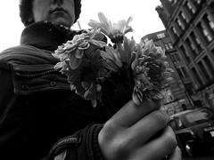 the bouquet (vfrgk) Tags: flowers bouquet buildings buildingdetail people figure taxi cityscape urbanphotography urbanfragment urbanlife streetphotography streetscene streetsnap monochrome bw blackandwhite raindrops rainning moody atmospheric mono spring closeup